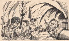 Bilbo, Gandalf And Thorin In The Troll-Hole