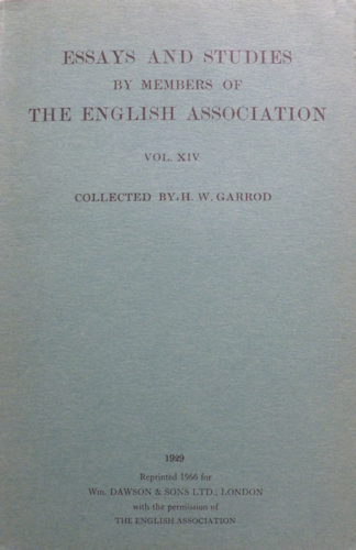 Essays and Studies XIV. 1929. Reprint