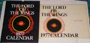 The Lord of the Rings 1977 Calendar. Issued in a card mailing envelope
