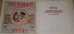 1994 J.R.R. Tolkien Calendar. Issued in a card mailing envelope