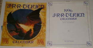 1996 J.R.R. Tolkien Calendar. Issued in a card mailing envelope