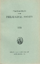 Transactions of the Philological Society 1934. Reprint. Paperback journal.