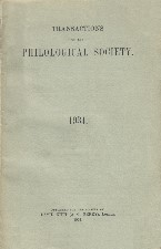 Transactions of the Philological Society 1934. Paperback journal.